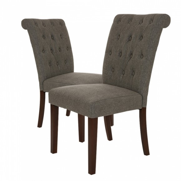 Glitzhome Fabric Dining Chairs With Tufted Back Dark Gray, Set Of Two