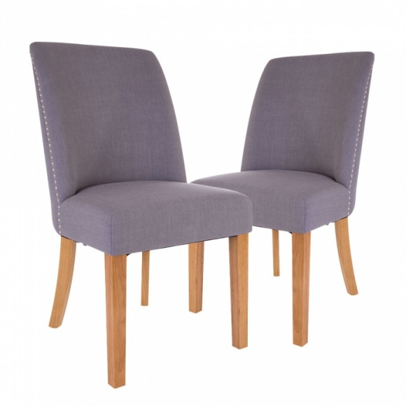 Glitzhome Fabric Dining Chairs Blue Gray, Set Of Two
