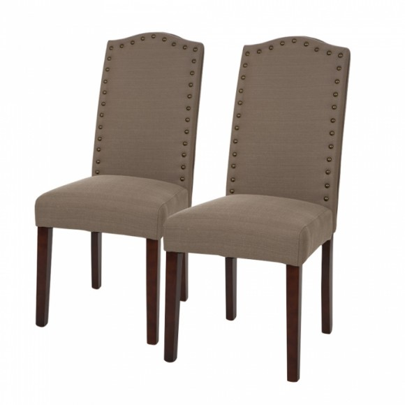 Glitzhome Upholstered Dining Chairs With Studded Decoration Set Of Two