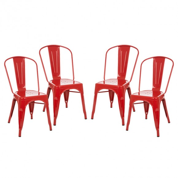 Glitzhome Vintage Stackable Metal Side Chairs Light Red, Set Of Four