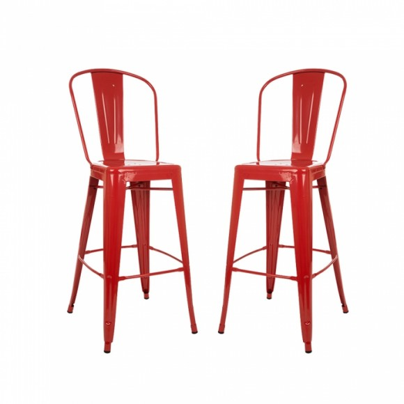 Glitzhome Vintage Metal Counter Bar Stools Red, Set Of Two