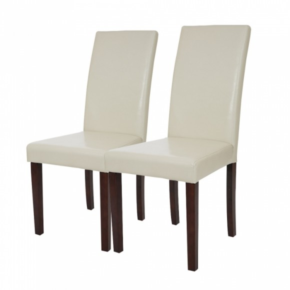 Glitzhome Padded Leatherette Dining Chairs Cream, Set Of Two