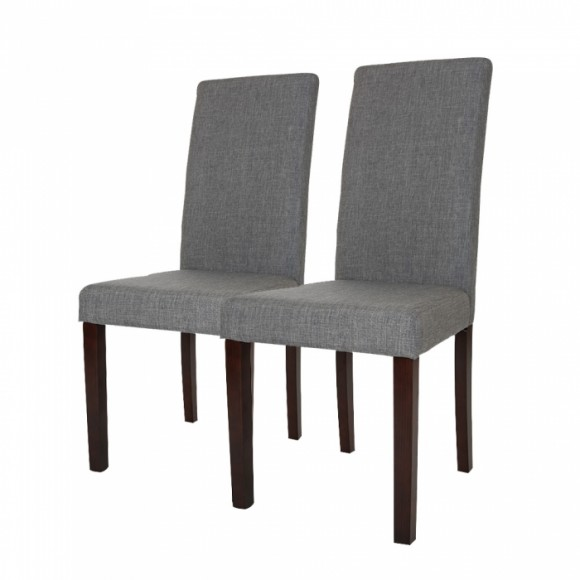 Glitzhome Padded Fabric Dining Chairs Light Gray, Set Of Two