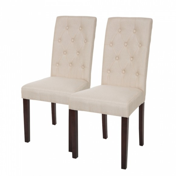 Glitzhome Padded Fabric Dining Chairs With Tufted Back Cream White, Set Of Two