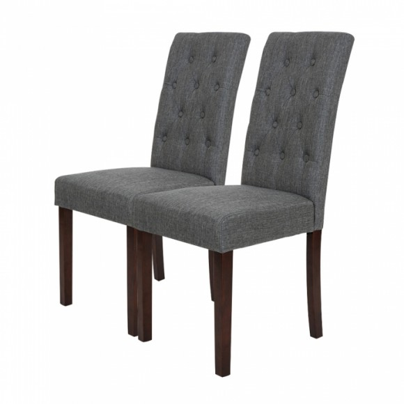 Glitzhome Padded Fabric Dining Chairs With Tufted Back Dark Gray, Set Of 2