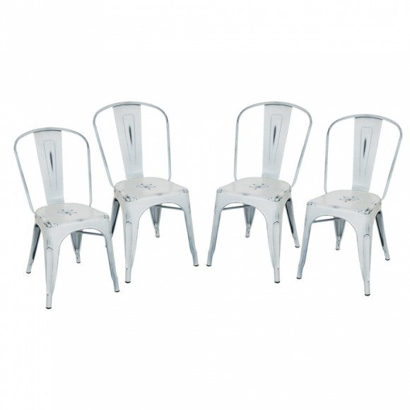 Glitzhome Vintage Stackable Metal Side Chairs Light White, Set Of Four