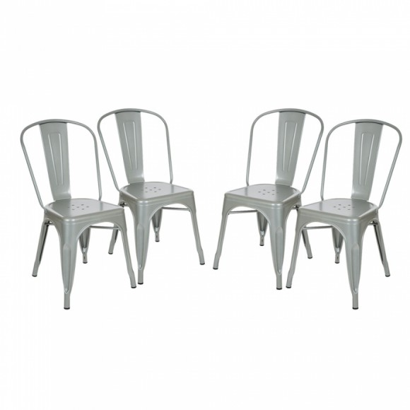 Glitzhome Vintage Stackable Metal Side Chairs Light Silver, Set Of Four