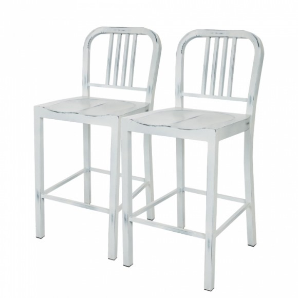 Glitzhome Vintage Metal Back Counter Bar Stools White, Set Of Two