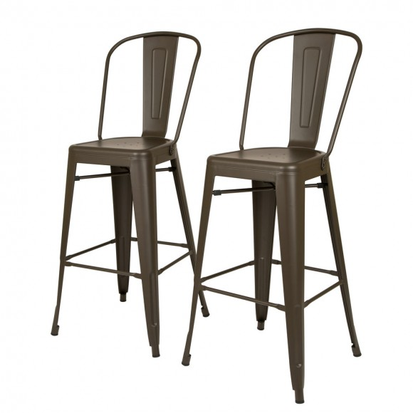 Glitzhome Vintage Metal Stackable Dining Side Chairs & Bar Stools, Set of 2