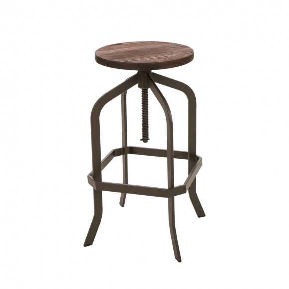 Glitzhome Pinnadel Bar Stool Adjustable Industrial Rustic Wooden Seat Metal Dining Chair