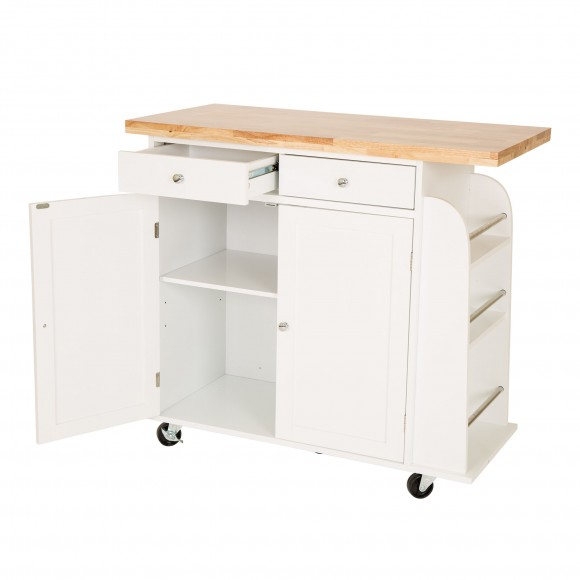 Glitzhome Kitchen Cart with 2 Drawer 2 Door Rubber Wooden Top Rolling Storage Table