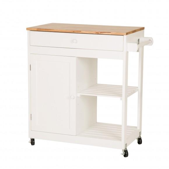 Glitzhome Kitchen Cart with Drawer Door Rubber Wooden Kitchen Island Storage Table