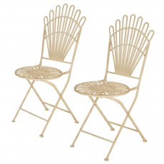 Glitzhome White Patio Folding Chair Outdoor, Set Of 2