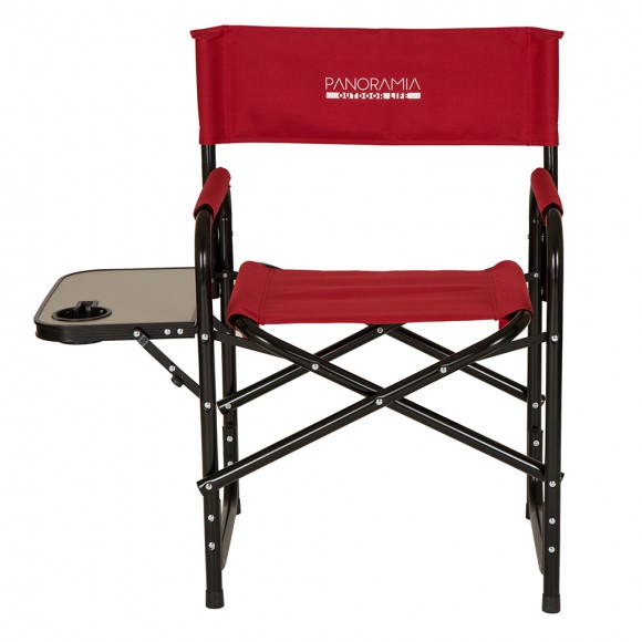 Panoramia Foldable Metal Director Chair with Armerest Table, Red
