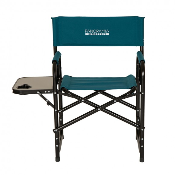 Panoramia Foldable Metal Director Chair with Armerest Table, Dark Bluish Green