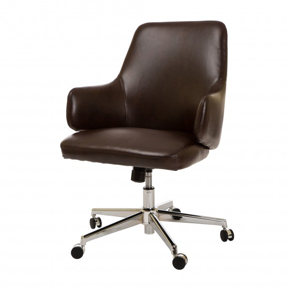 Glitzhome Home Executive Office Chair Armrest Bonded Leather (Mid-Back ,Coffee)
