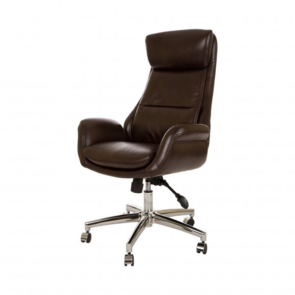 Glitzhome Home Executive Office Chair Armrest Bonded Leather (High-Back ,Coffee)