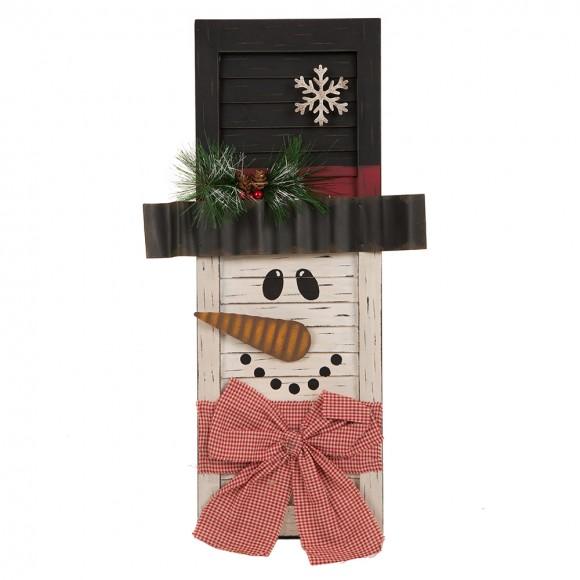 Glitzhome Handcrafted Wooden Snowman Shutter Christmas Decor