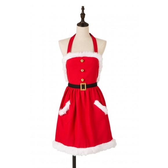 Glitzhome Christmas Apron with Pocket Plush Trim Mrs Clause Housewarming Gift