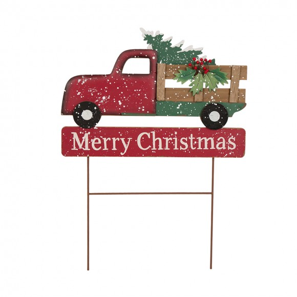 glitzhome christmas red truck yard stake handcrafted xmas iron decor - Christmas Truck Decor