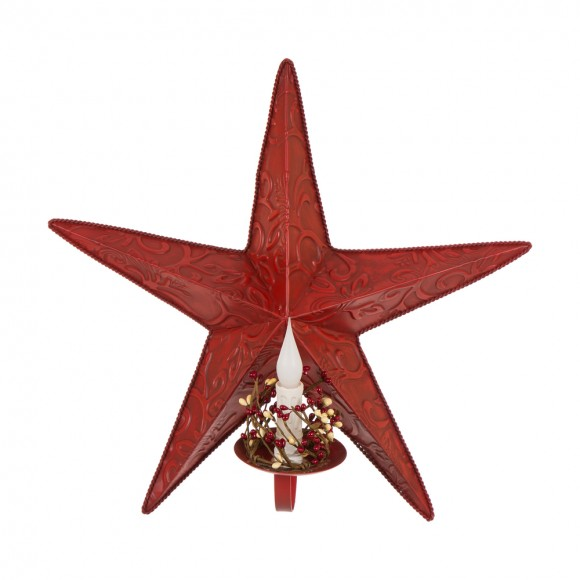 Glitzhome Christmas Iron Star Wall Decor Led Candle Wall Decor