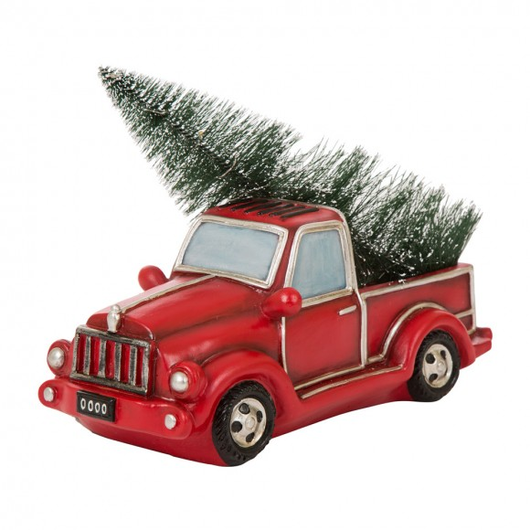 """Glitzhome Christmas Table Decor Ornaments 12.52""""L Red Truck With Lighted Tree"""