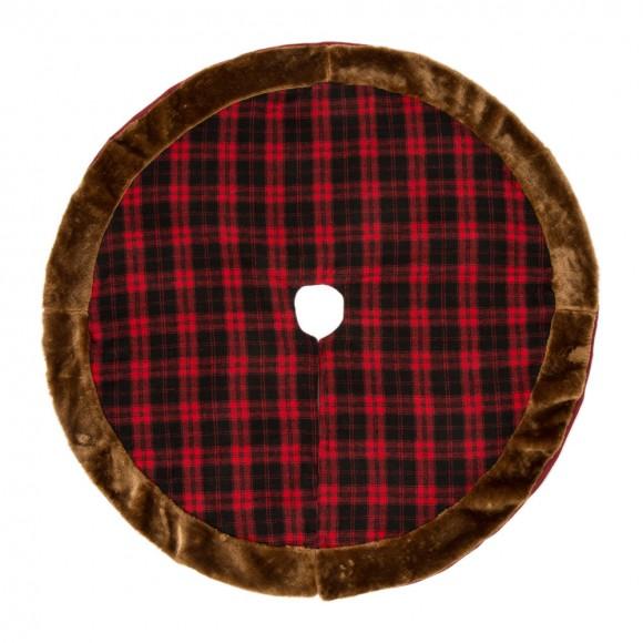 Glitzhome Plaid Plush Edged Christmas Tree Skirt