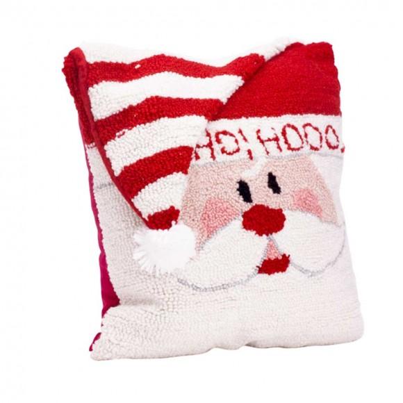 "Glitzhome 14"" x 14"" Handmade Hooked Santa Christmas Throw Pillow"