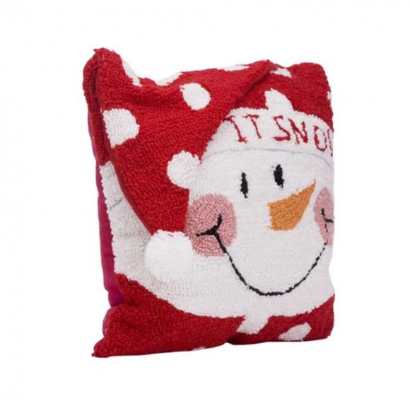 "Glitzhome 14"" x 14"" Handmade Hooked Snowman Christmas Throw Pillow"