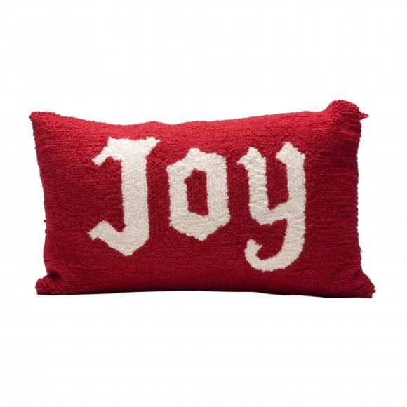 "Glitzhome 16""Lx10""H Hooked Joy Christmas Throw Pillow, Red Joy"