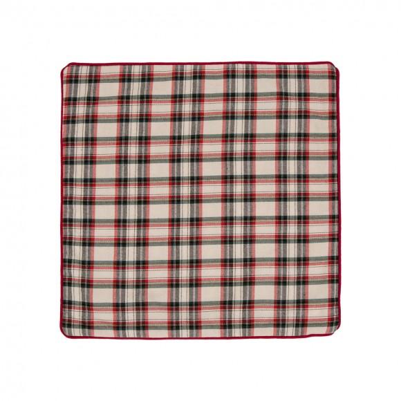 Glitzhome Plaid Square Fbric Pillow Cover