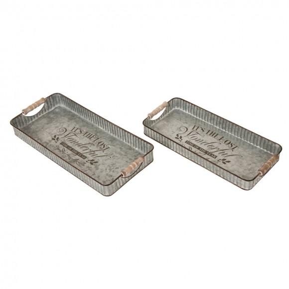 Glitzhome Galvanized Iron Tray Set of 2 Casual Country Rustic Design