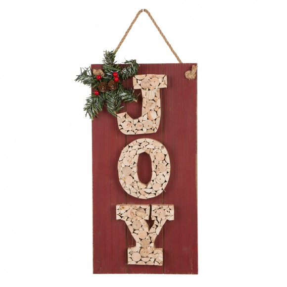 "Glitzhome 16""H Wooden ""JOY"" Wall Sign"