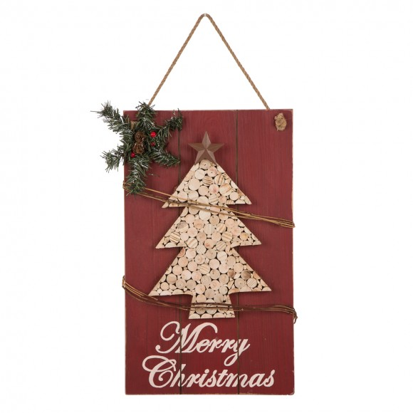 """Glitzhome 19.92""""H Wooden Christmas Tree Wall Sign"""