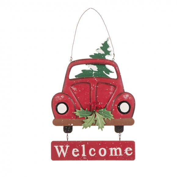 glitzhome xmas decor red truck welcome sign christmas wall door ornaments