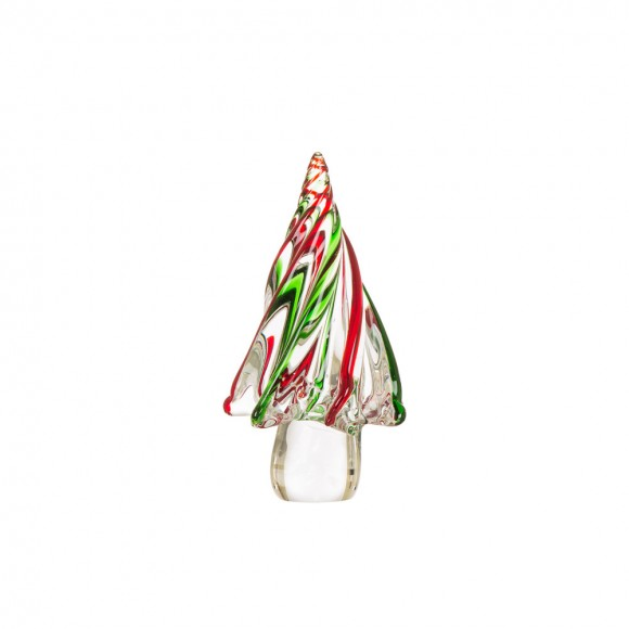 """Glitzhome 7.87""""H Red/Green Striped Table Decor Glass Christmas Tree"""