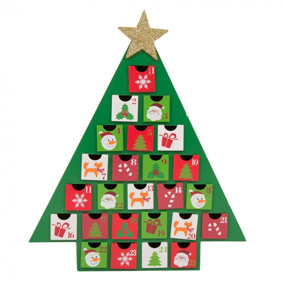 Glitzhome Christmas Countdown Calendar Christmas Tree Advent Calendar With Drawer, Green, Handcrafted