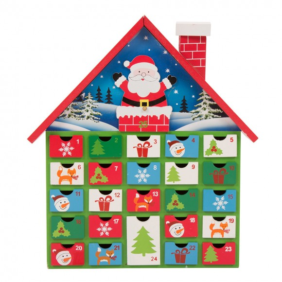 Glitzhome Handcrafted Wooden Santa House Christmas Countdown Calendar With Drawer