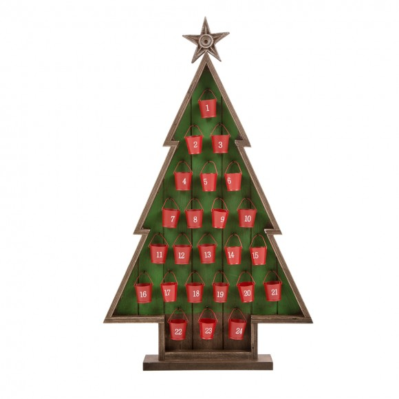 Glitzhome Handcrafted Wooden Count Down Advent Calendar With Drawer (Red Tree A)