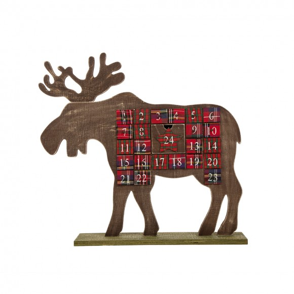 Glitzhome Handcrafted Wooden Christmas Countdown Calendar With Drawer (Reindeer)