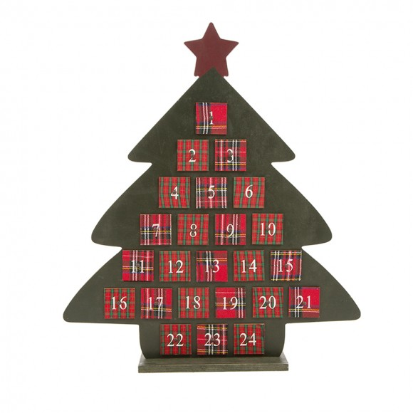 Glitzhome Handcrafted Wooden Count Down Advent Calendar With Drawer (Green Tree A)