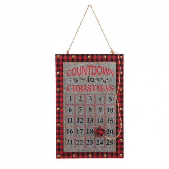 """Glitzhome Handcrafted Wooden Christmas Countdown Calendar Chalkboard Wall Hanging Sign (12.60""""L)"""
