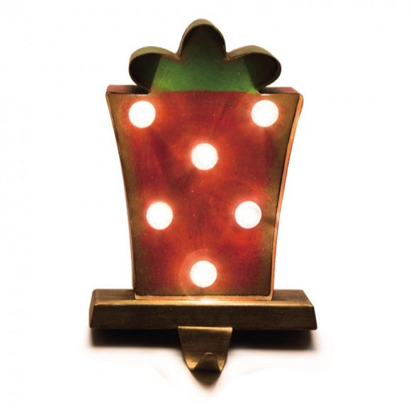 Glitzhome Marquee LED Gift Box Stocking Holder