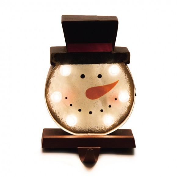 "Glitzhome 7.48"" Marquee LED Lighted Snowman Head Christmas Stocking Holder Battery Operated"