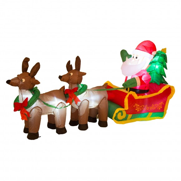 Inflatable Santa Sleigh U0026 Reindeer Lighted Christmas Yard Art Decor