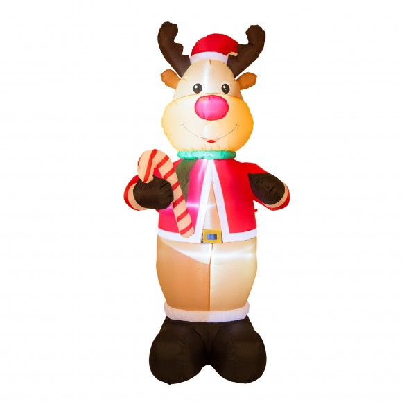 Glitzhome Brite Ideas Festive Productions Inflatable Reindeer Holding Candy Cane - Brown