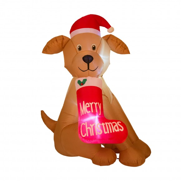 Glitzhome English Bulldog Inflateable Holiday Air Blown Christmas Decor