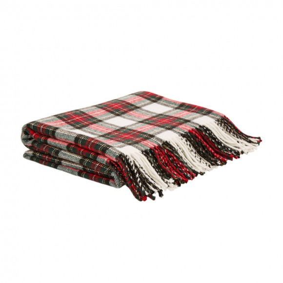 Glitzhome 100% Acrylic Dress Stewart Tartan Plaid Throw Blanket with Fringe, 50'' x 60''