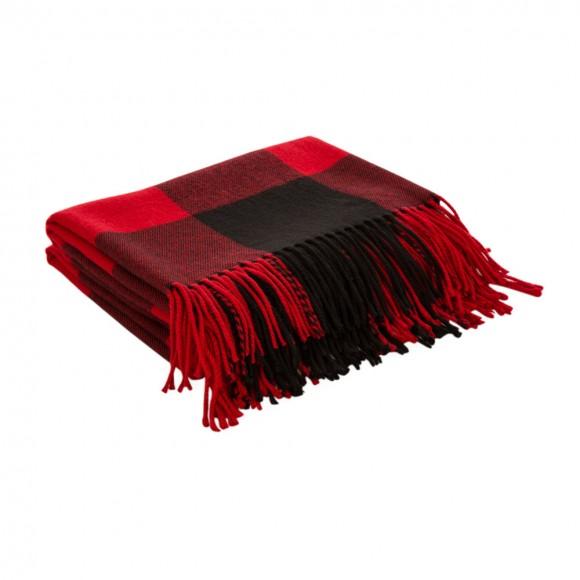 "Glitzhome Plaid Check Tassel Throw Blanket, 50"" x 60"", Red"