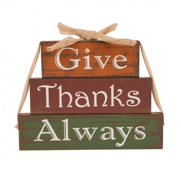 "Glitzhome Handcrafted Wooden ""Give Thanks"" Block Set"